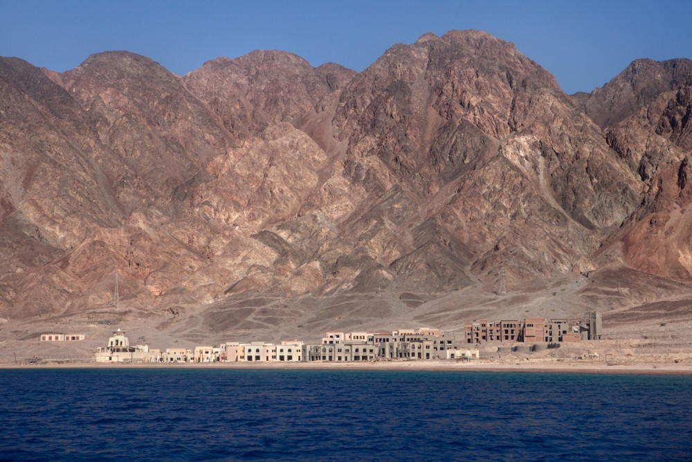Taba, Sinai, July 2014. From the Israeli border to Sharm El Sheikh, almost the entire cost of the Aqaba Gulf is built with tourist infrastructures. However, 3 natural parks initiated under Mubarak's government are limiting the deterioration of the cost.